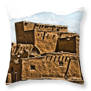 Taos Pueblo Throw Pillow by John Hansen