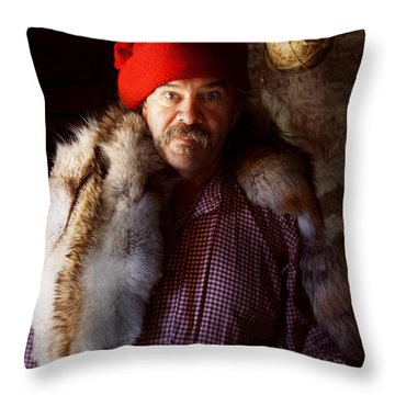 Taxidermist - Jaque The Fur Trader Throw Pillow by Mike Savad