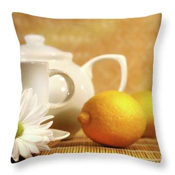 Tea And Lemon Throw Pillow by Sandra Cunningham