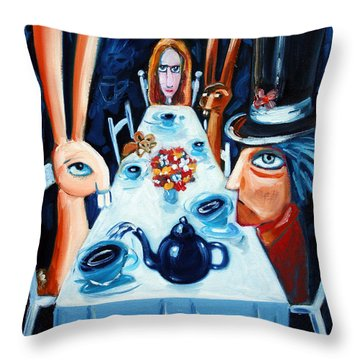 Tea By Night Throw Pillow by Leanne Wilkes