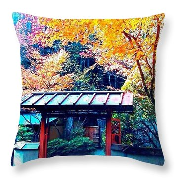 Tea House Gate In The Fall Throw Pillow