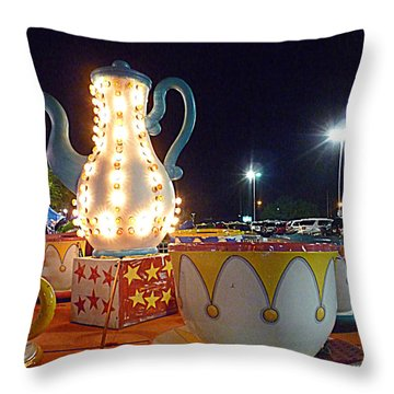 Throw Pillow featuring the photograph Tea Pot And Cups Ride by Renee Trenholm