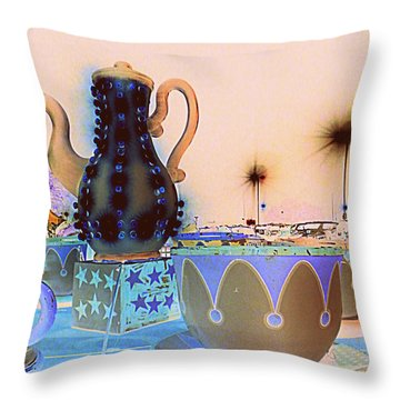 Throw Pillow featuring the photograph Tea Pot And Cups Ride With Inverted Colors by Renee Trenholm