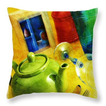 Tea Pot Throw Pillow by Mauro Celotti