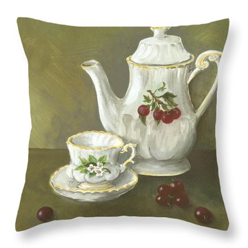 Throw Pillow featuring the painting Tea With Cherries  by Nancy Patterson