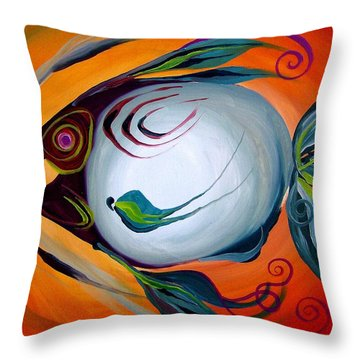 Teal Fish With Orange Throw Pillow