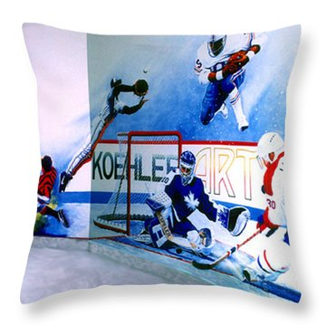 Team Sports Mural Throw Pillow by Hanne Lore Koehler
