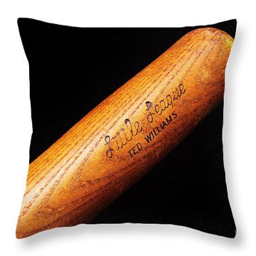Ted Williams Little League Baseball Bat Throw Pillow by Andee Design