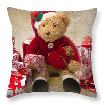 Teddy At Christmas Throw Pillow by Louise Heusinkveld