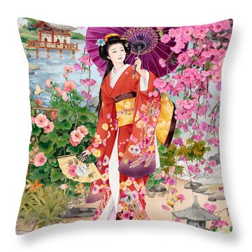 Teien Throw Pillow by Haruyo Morita