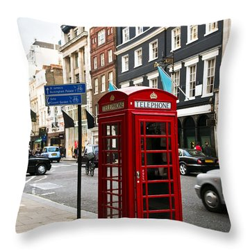 Telephone Box In London Throw Pillow by Elena Elisseeva