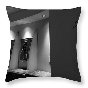 Throw Pillow featuring the photograph Telephones On Wall by Nina Prommer