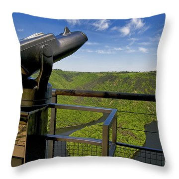 Telescope With View On Meander Of Queuille. Auvergne. France. Europe Throw Pillow by Bernard Jaubert