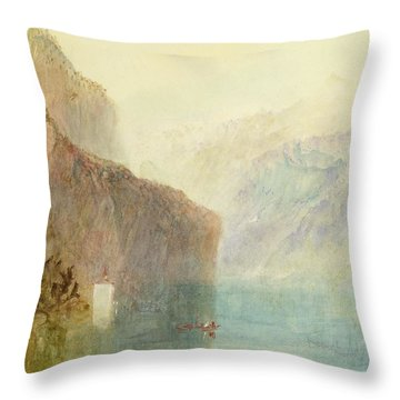Tell's Chapel - Lake Lucerne Throw Pillow by Joseph Mallord William Turner