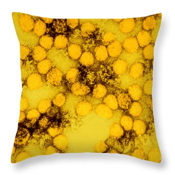 Tem Of Yellow Fever Viruses Throw Pillow by Science Source