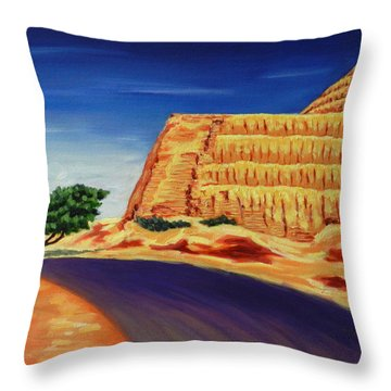 Temple Of The Sun , Peru Impression Throw Pillow