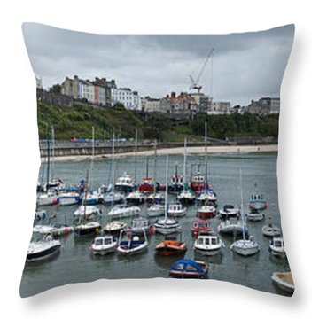 Throw Pillow featuring the photograph Tenby Harbour Panorama by Steve Purnell