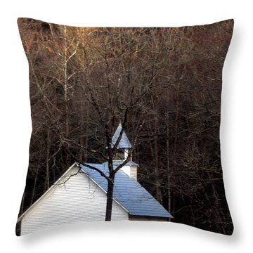 Tennessee Mountain Church Throw Pillow by Skip Willits