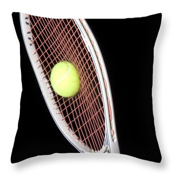 Tennis Ball And Racket Throw Pillow by Ted Kinsman