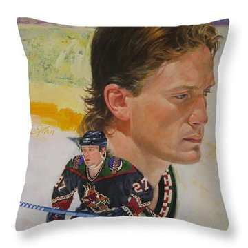 Throw Pillow featuring the painting Teppo Numminen by Cliff Spohn