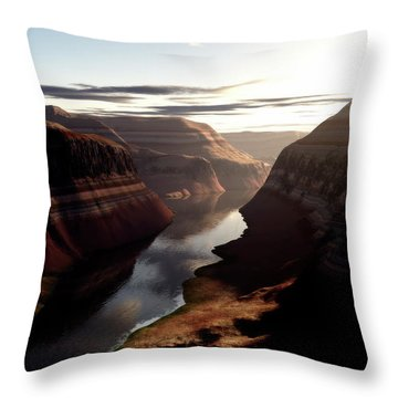 Terragen Render Of Trail Canyon Throw Pillow by Rhys Taylor