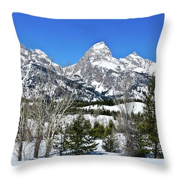 Teton Winter Landscape Throw Pillow