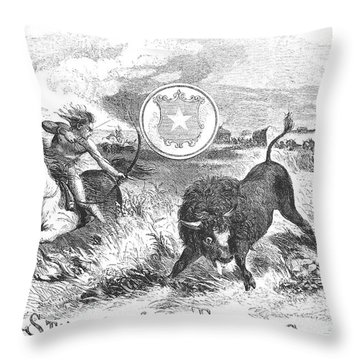 Texas Scene, 1855 Throw Pillow by Granger