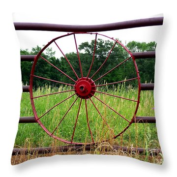 Throw Pillow featuring the photograph Texas Wildflowers Through Wagon Wheel by Kathy  White
