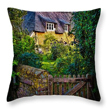 Thatched Roof Country Home Throw Pillow by Chris Lord