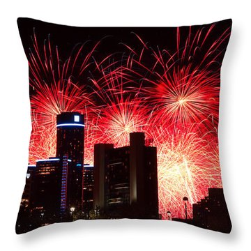 Throw Pillow featuring the photograph The 54th Annual Target Fireworks In Detroit Michigan - Version 2 by Gordon Dean II