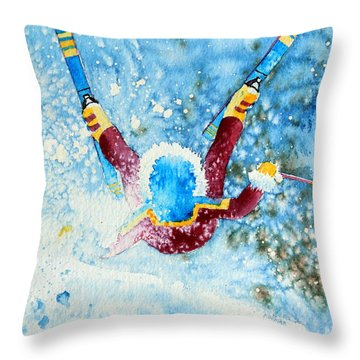 The Aerial Skier - 14 Throw Pillow by Hanne Lore Koehler