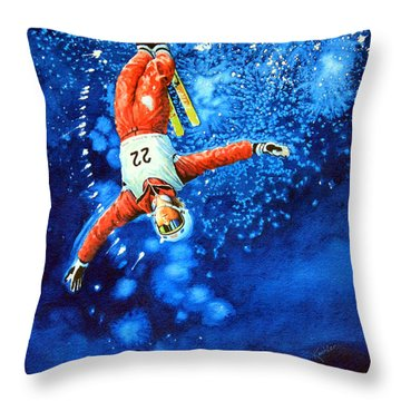 The Aerial Skier 20 Throw Pillow by Hanne Lore Koehler