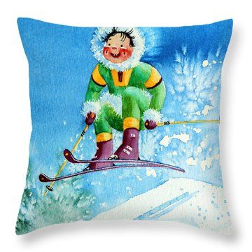 The Aerial Skier - 9 Throw Pillow by Hanne Lore Koehler