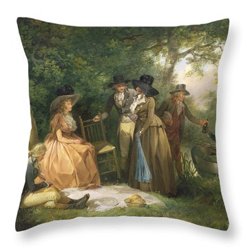 The Angler's Repast  Throw Pillow by George Morland