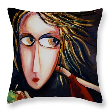 Throw Pillow featuring the painting The Apple by Leanne Wilkes