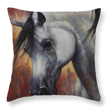 Throw Pillow featuring the painting The Arabian by Harvie Brown