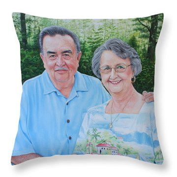 Throw Pillow featuring the painting The Armstrongs by Mike Ivey
