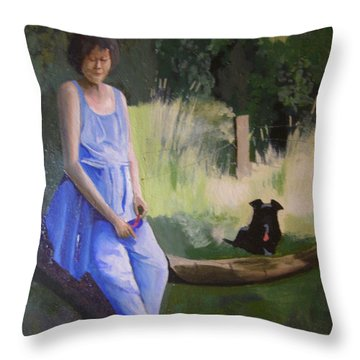 The Artist's Wife With Jasper Throw Pillow