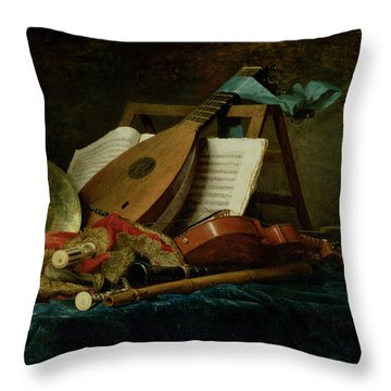 The Attributes Of Music Throw Pillow by Anne Vallaer-Coster