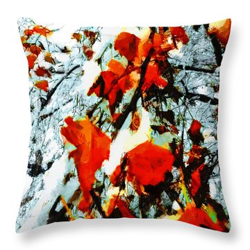 Throw Pillow featuring the photograph The Autumn Leaves And Winter Snow by Steve Taylor