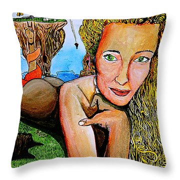 Throw Pillow featuring the mixed media The Bartender by eVol  i