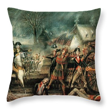 The Battle Of Trenton 1776 Throw Pillow by Photo Researchers