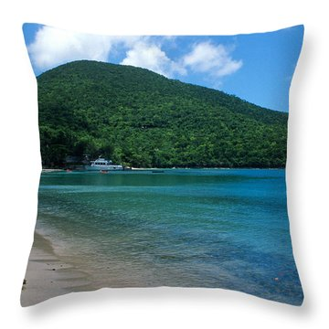 The Beach At Caneel Bay Throw Pillow by Kathy Yates