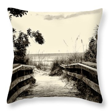The Beach Path - Clearwater Beach Throw Pillow by Bill Cannon