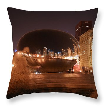 The Bean On A Winter Night Throw Pillow