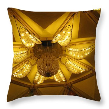 The Beautifully Lit Chandelier On The Ceiling Of The Iskcon Temple In Delhi Throw Pillow by Ashish Agarwal