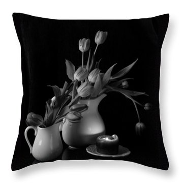 The Beauty Of Tulips In Black And White Throw Pillow