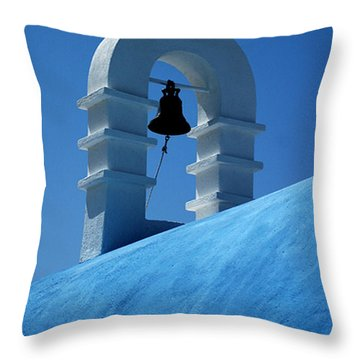 The Bell Tower In Mykonos Throw Pillow by Vivian Christopher