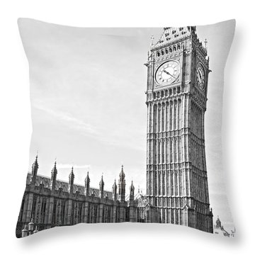 Throw Pillow featuring the photograph The Big Ben - London by Luciano Mortula