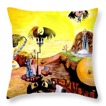 Throw Pillow featuring the painting The Birth Of Music by eVol  i